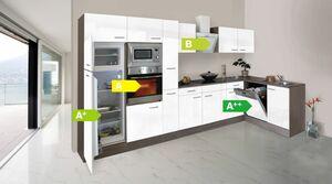 Respekta Küchenprogramm Eiche York Winkelküche 370 cm inkl. E-Geräte & Mineralite Einbauspüle, weiß