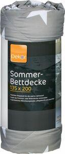 Sommer-Bettdecke, ca. 135 x 200 cm - anthrazit Sterne