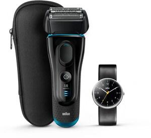 Braun 5145s Series 5 + Original Braun Uhr Limited Edition Rasierer schwarz/blau