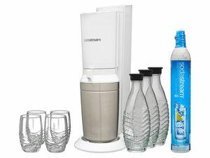 Sodastream Wassersprudler Crystal + Duopack Glaskaraffen + 4 Trinkgläser