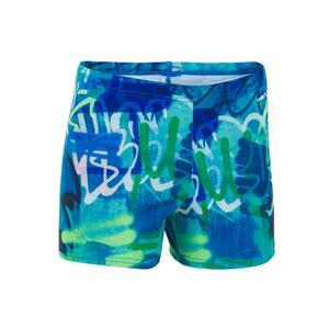 Badehose Boxer 500 Fit All Tag Jungen grün/blau