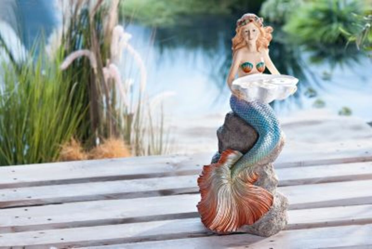 """Bild 2 von Dekofigur """"Meerjungfrau"""" mit Schale"""