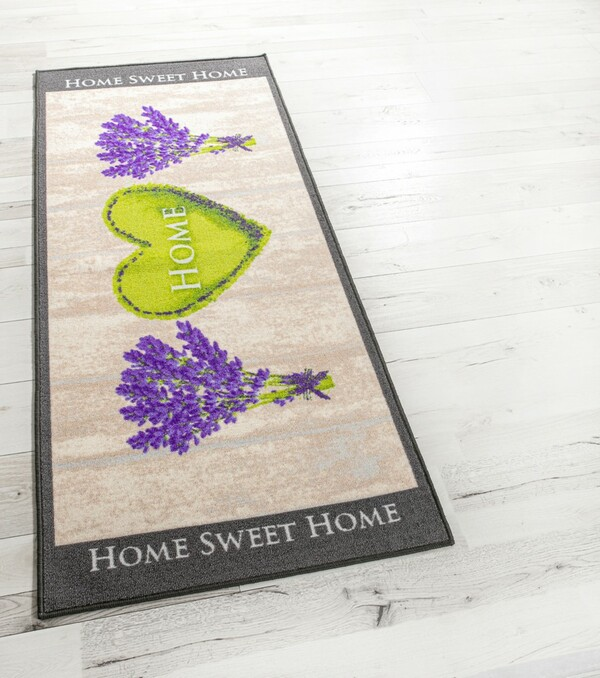 Bella Casa XL-Designläufer, ca. 80 x 190 cm, Lavendel Herz/Home beige/lila