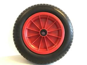 """Kraft Werkzeuge Schubkarrenrad """"pannensicher"""", Rad schwarz/ Felge rot"""