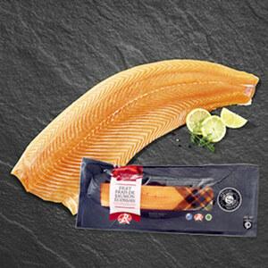 """Schottisches Lachsfilet mit dem Gütesiegel """" Label Rouge"""" für hochwertige Qualität, mit Haut, je 100g"""