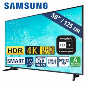 "50""-Ultra-HD-LED-TV UE50RU7099 • HbbTV • 3 HDMI-/2 USB-Eingänge, CI+-Anschluss • 20 Watt RMS • Stand-by: 0,5 Watt, Betrieb: 91 Watt • Maße: H 65 x B 112,5 x T 5,9 cm • Energie-Effizienz"