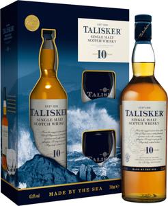 Talisker 10 Jahre Single Malt Scotch Whisky + 2 Gläser PROMO   45,8 % vol   0,7 l