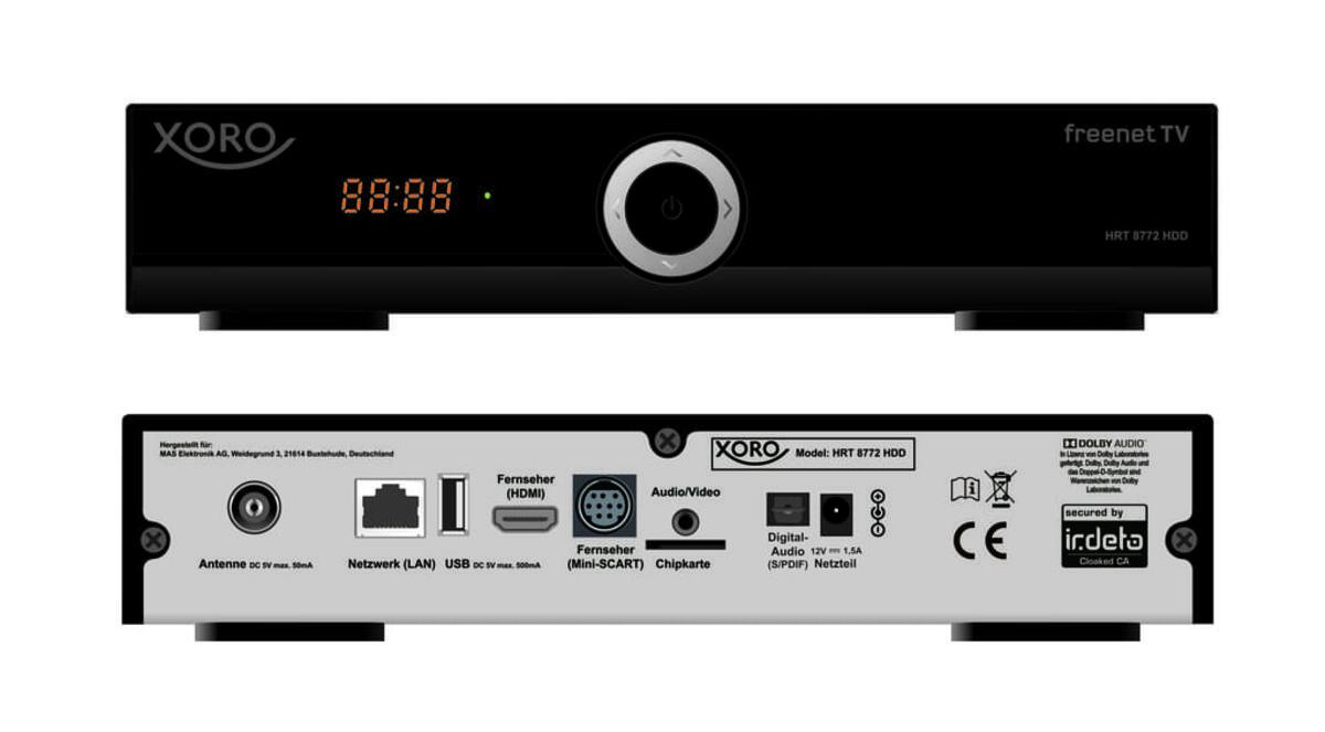 Bild 2 von XORO HDTV Receiver HRT8772 HDD, DVB-T MPEG4, DVB-T2, 1TB Festplatte, EPG, Ethernet, Farbe: Schwarz