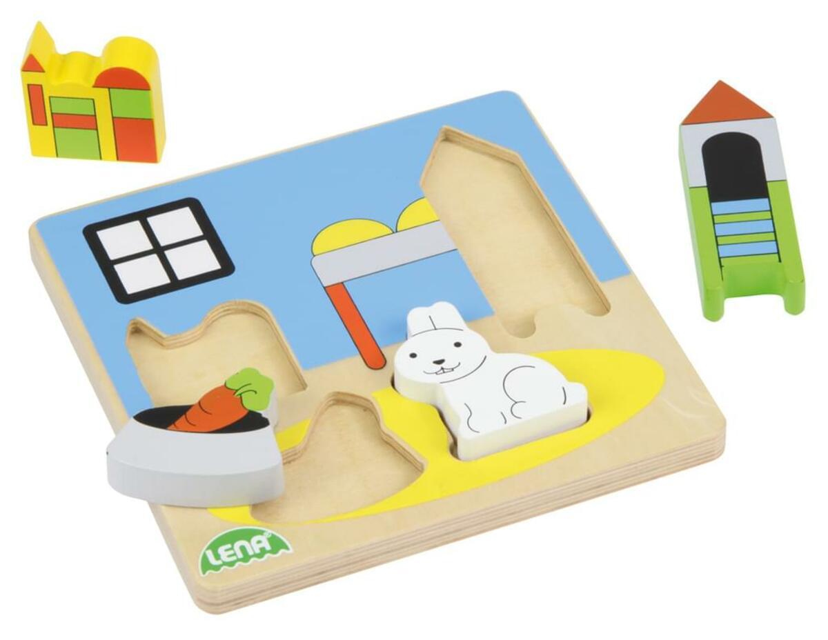 Bild 2 von LENA® 32144 - Holz-Puzzle Kinderzimmer, 4 Teile 4006942837700