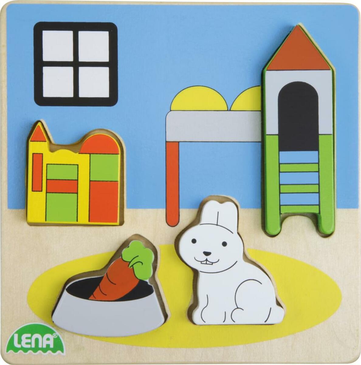 Bild 4 von LENA® 32144 - Holz-Puzzle Kinderzimmer, 4 Teile 4006942837700