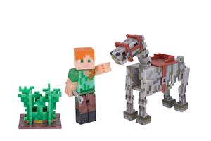 Jazwares 16601 - Minecraft - Alex mit Skelettpferd, Actionfiguren