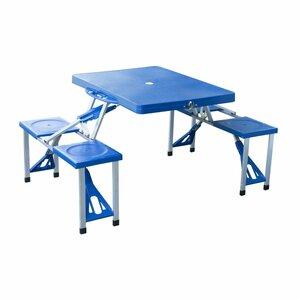 Outsunny Campingtisch mit 4 Sitzer blau