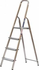 Haushaltsleiter, 4 Stufen, Aluminium ,  Plattform Stahl, rutschhemmend profiliert