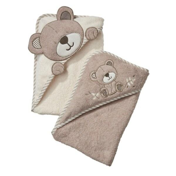 Kapuzenbadetuch 2er Pack Bär