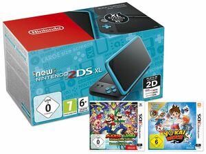 Nintendo 2DS XL schwarz-türkis + 3DS YO-KAI WATCH® Special Edition Inkl. Medaille + 3DS Mario & Luigi: Super Star Saga + Bowsers Schergen