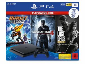 SONY PlayStation 4 Slim 1 TB PlayStation Hits-Reihe Bundle - Ratchet & Clank + The Last of Us + Uncharted 4
