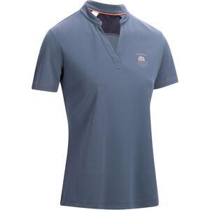 Reit-Poloshirt kurzarm 500 Mesh Damen grau/marineblau
