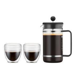 bodum             Kaffeebereiter, 8 Tassen, 1,0 l, mit 2 doppelwandigen Bechern, 0,25 l