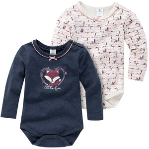 2 Baby Langarmbodys in verschiedenen Dessins
