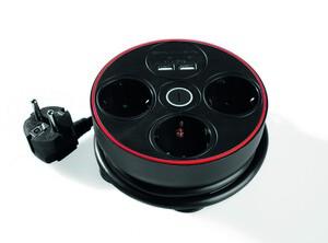 Powertec Electric Clevere 3-fach Steckdose mit Kabelbefestigungseinrichtung schwarz
