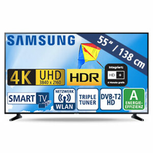 "55""-Ultra-HD-LED-TV UE55RU7099 • HbbTV • 3 HDMI-/2 USB-Eingänge, CI+ • 20 Watt RMS • Stand-by: 0,5 Watt, Betrieb: 110 Watt • Maße: H 71,4 x B 123,9 x T 5,9 cm • Energie-Effizienz A (Spe"