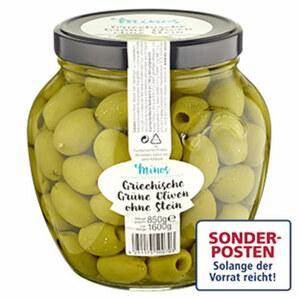 Minos griechische grüne Oliven ohne Stein jedes 1600-g-Glas/ 850 g Abtropfgewicht