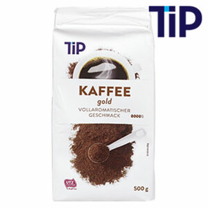 TIP Kaffee Gold vollaromatischer Geschmack jede 500-g-Vac.-Packung