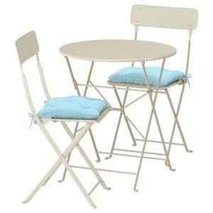 SALTHOLMEN                                Tisch+2 Klappstühle/außen, beige, Kuddarna blau hellblau