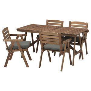 FALHOLMEN                                Tisch+4 Armlehnstühle/außen, hellbraun lasiert graubraun, Frösön/Duvholmen dunkelgrau