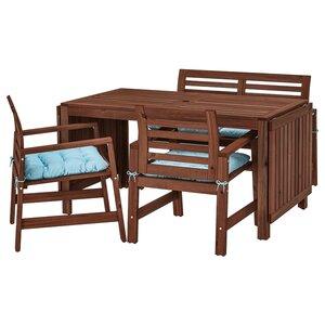 ÄPPLARÖ                                Tisch+2 Armlehnstühle+Bank/außen, braun las., Kuddarna blau hellblau