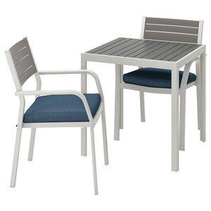 SJÄLLAND                                Tisch und 2 Armlehnstühle/außen, dunkelgrau, Frösön/Duvholmen blau, 71x71x73 cm