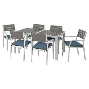 SJÄLLAND                                Tisch+6 Armlehnstühle/außen, dunkelgrau, Frösön/Duvholmen blau, 156x90 cm