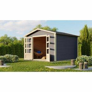 Karibu Holz-Gartenhaus Tessin Grau BxT: 300 x 300 cm inkl. Boden und Schindeln