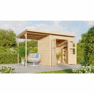 Karibu Holz-Gartenhaus Neuenburg Natur 370 cm x 150 cm davon 162 cm Anbaudach
