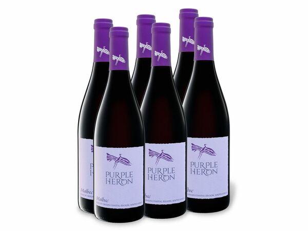 6 x 0,75-l-Flasche Weinpaket Purple Heron Südafrika Malbec trocken, Rotwein