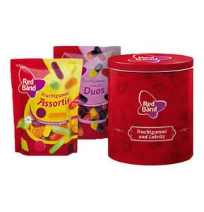 Nostalgiedose, gefüllt mit 200g Fruchtgummi-Mischung und 200g Lakritz Duos