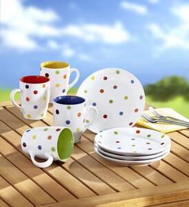 Tassen und Teller Set, Service 8-teilig, gepunktet