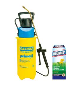 Drucksprühgerät prima 5 und Akku-Kompressor AutoPump mit RoundUp Rasen-Unkrautfrei 250 ml