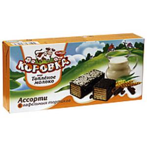"Waffel-Törtchen ""Korovka vkus toplönoje moloko"" mit 46 % Cre..."