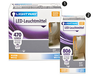 LIGHTWAY®   LED-Glasserie, nicht dimmbar, 1er-/2er-Set