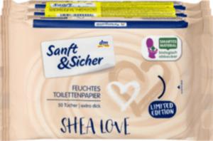 Sanft&Sicher Toilettenpapier feucht Shea Love 3x50 Stück
