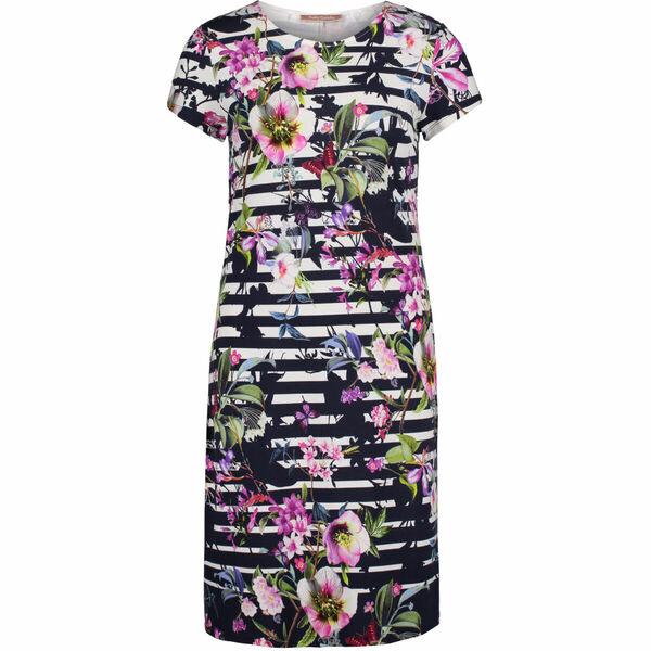 Betty Barclay Damen Kleid Kurzarm, gestreift mit Print von