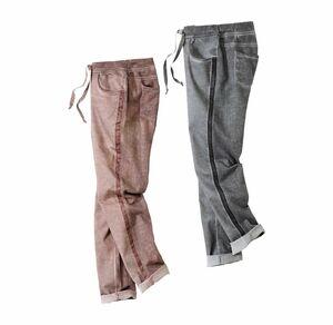 Laura Torelli COLLECTION Damen-Joggpants mit Galonstreifen in Grau und Rosa