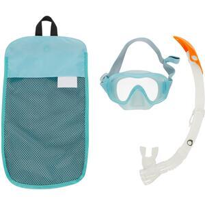 Schnorchel-Set Freediving FRD120 Erwachsene hellgrün/grau