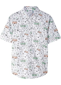 Bedrucktes Kurzarmhemd, Slim Fit