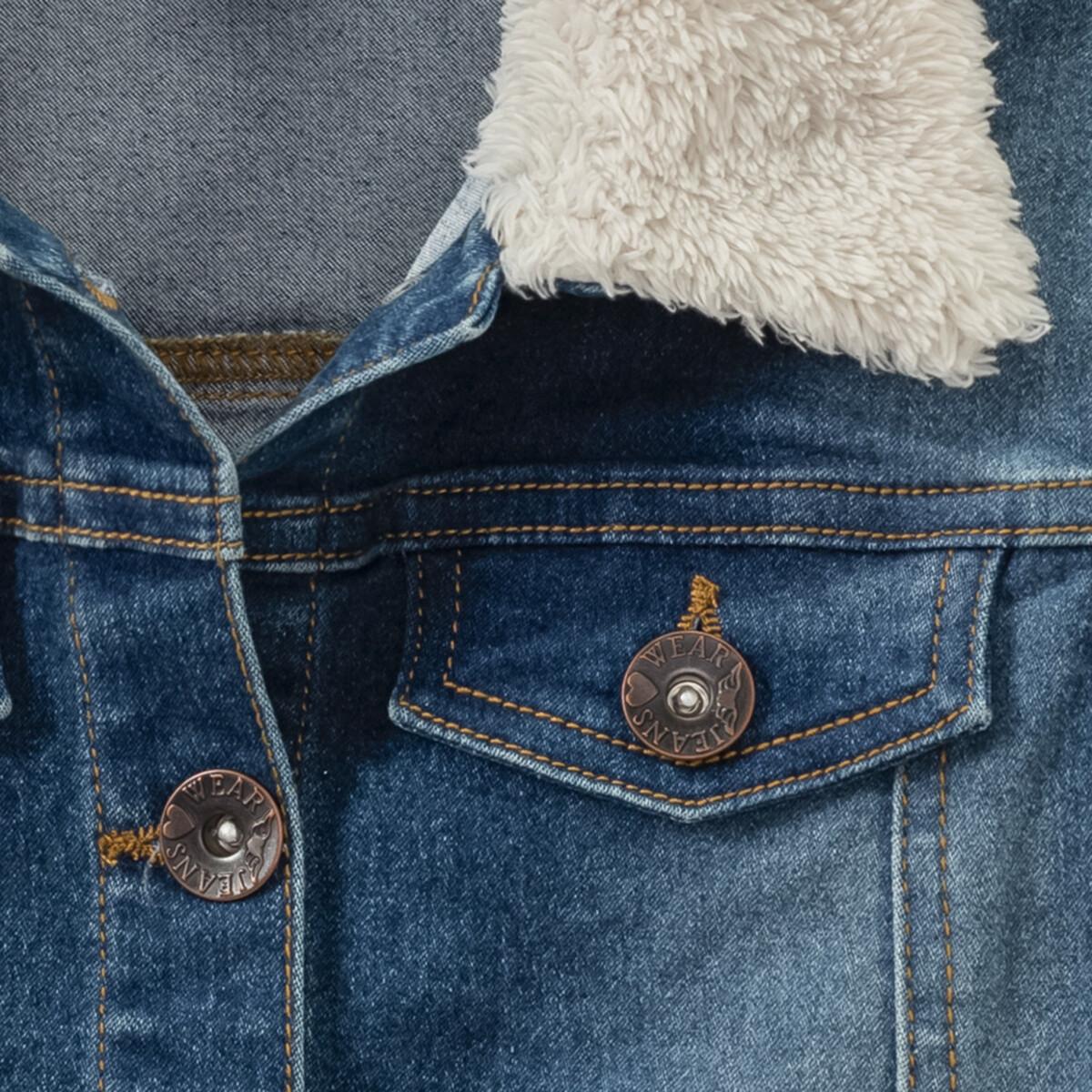 Bild 4 von Mädchen Jeansweste mit Plüschkragen