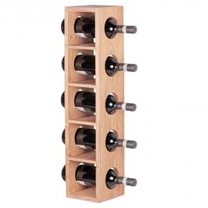 WOHNLING Weinregal Massiv-Holz Akazie Flaschen-Regal Wandmontage für 5 Flaschen Holzregal modern mit