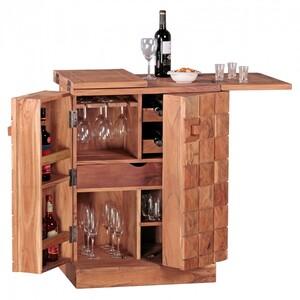 WOHNLING Hausbar Massivholz Akazie Weinbar ausklappbar Vitrine Landhausstil Barschrank Aufbewahrung