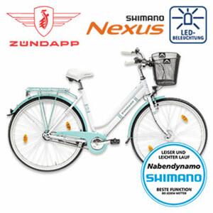 Citybike Red 2.0 - Shimano-Nexus-3-Gang-Nabenschaltung, Shimano Drehgriffschalter - Alu-V-Bremse vorne, Rücktrittbremse - Rahmenhöhe: 46 cm (26er), 52 cm (28er)