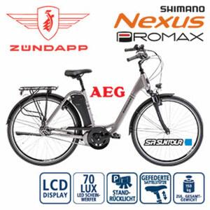 Alu-Elektro-Citybike Green 5.0 - Fahrunterstützung bis ca. 25 km/h - AEG Li-Ionen-Akku 36 V/11,6 Ah, 418 Wh - Reichweite: bis ca. 120 km (je nach Fahrweise) - AEG wartungsfreier Mittelmotor, 250 Wat